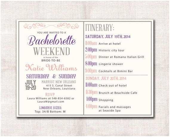 Bachelorette Weekend Invitations Bachelorette Party Weekend Invitation Itinerary