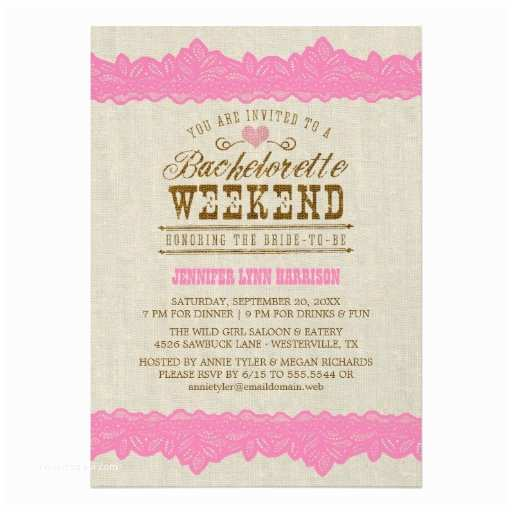 "Bachelorette Weekend Invitations Burlap & Pink Lace Bachelorette Weekend Invitation 5"" X 7"
