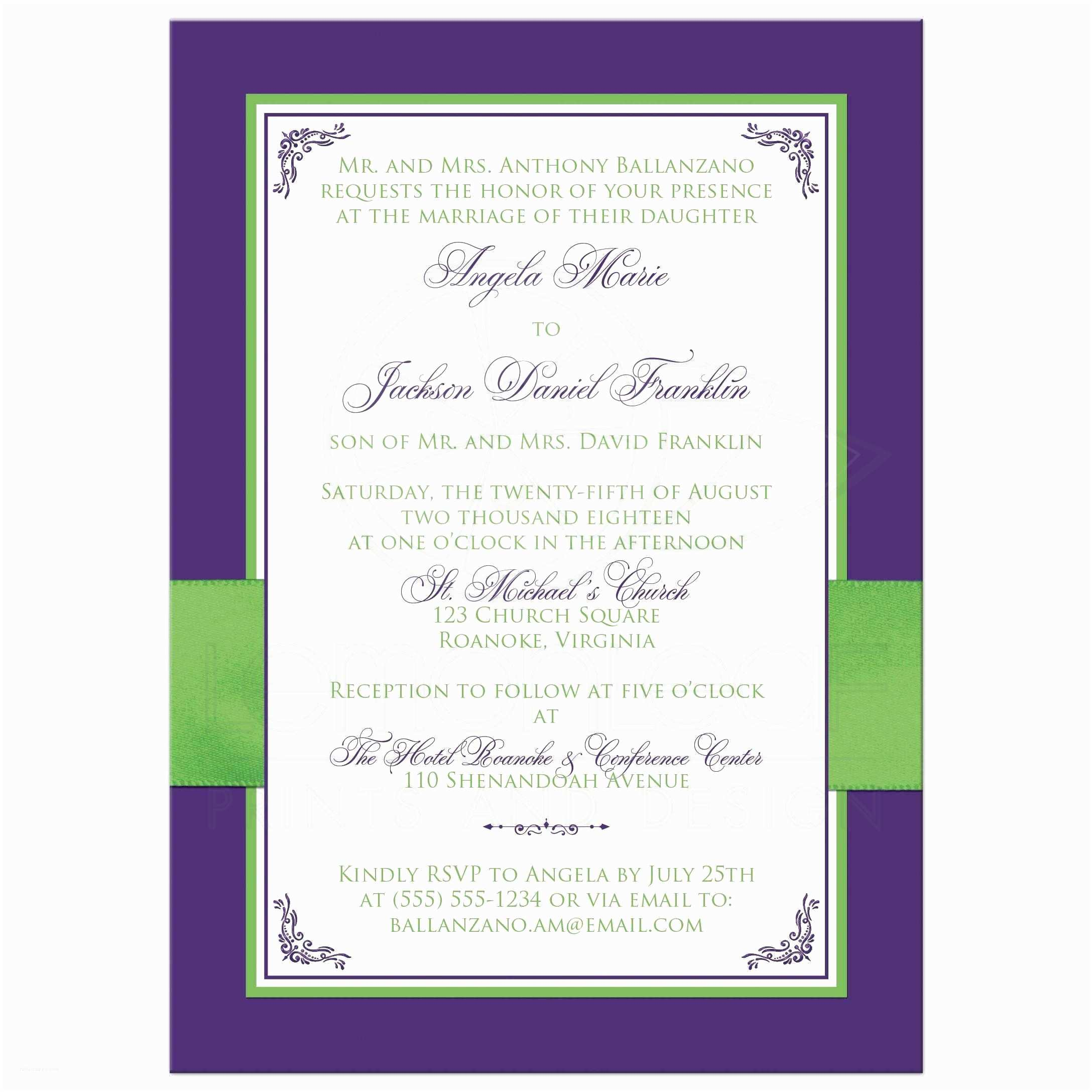 Back Of Wedding Invitation Lime Green White Purple Floral Wedding Invitation