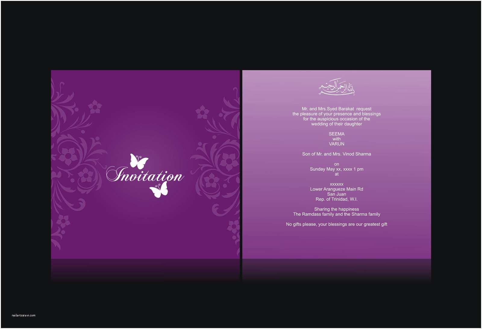 Back Of Wedding Invitation Strong Mind Wedding Invitation Card Design Purple Color