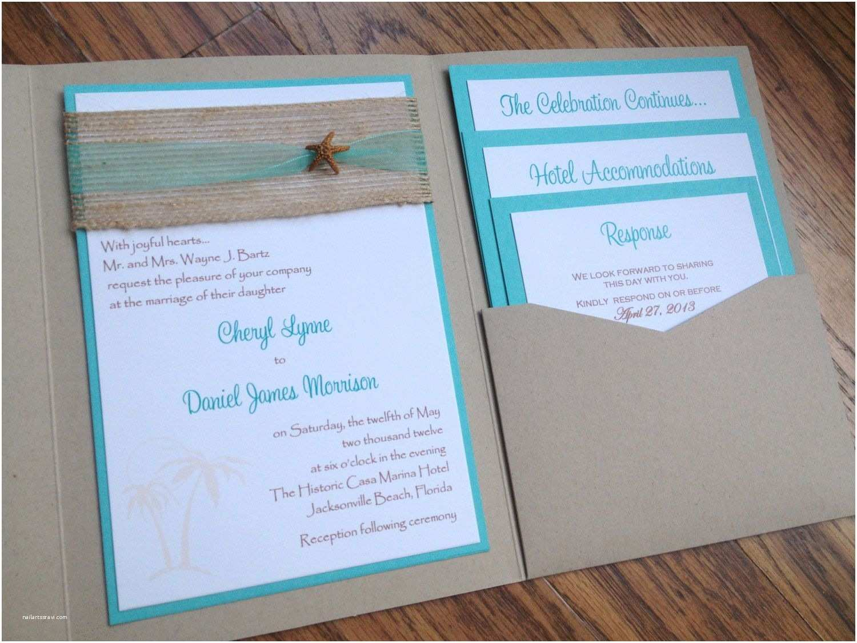 Back Pocket Wedding Invitations Beach Pocket Wedding Invitation Tropical by