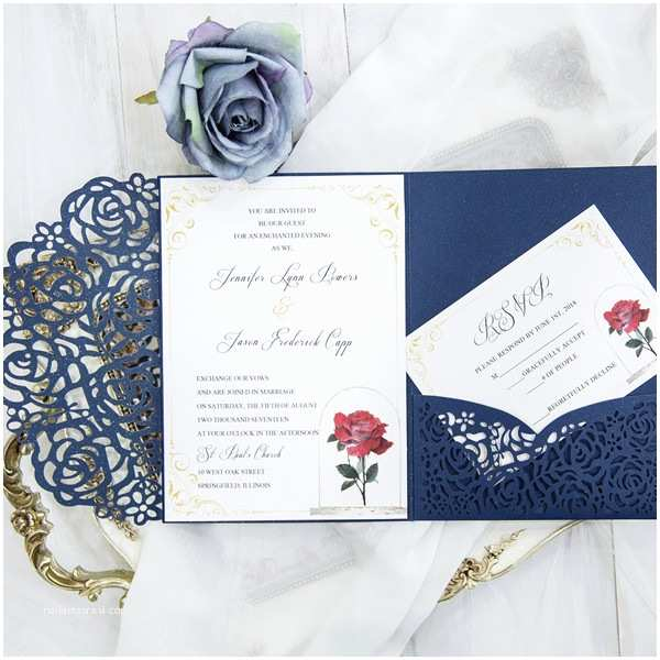 Back Pocket Wedding Invitations Beauty and the Beast Navy Blue Laser Cut Pocket Wedding