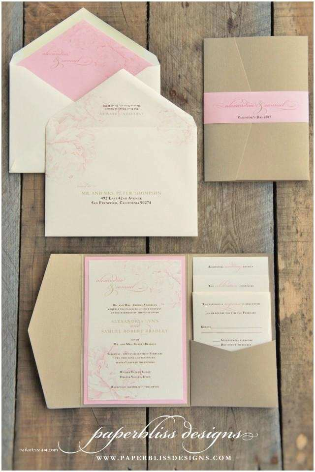 Back Pocket Wedding Invitations Blush Pink Peony Wedding Invitation Suite Pink and Gold