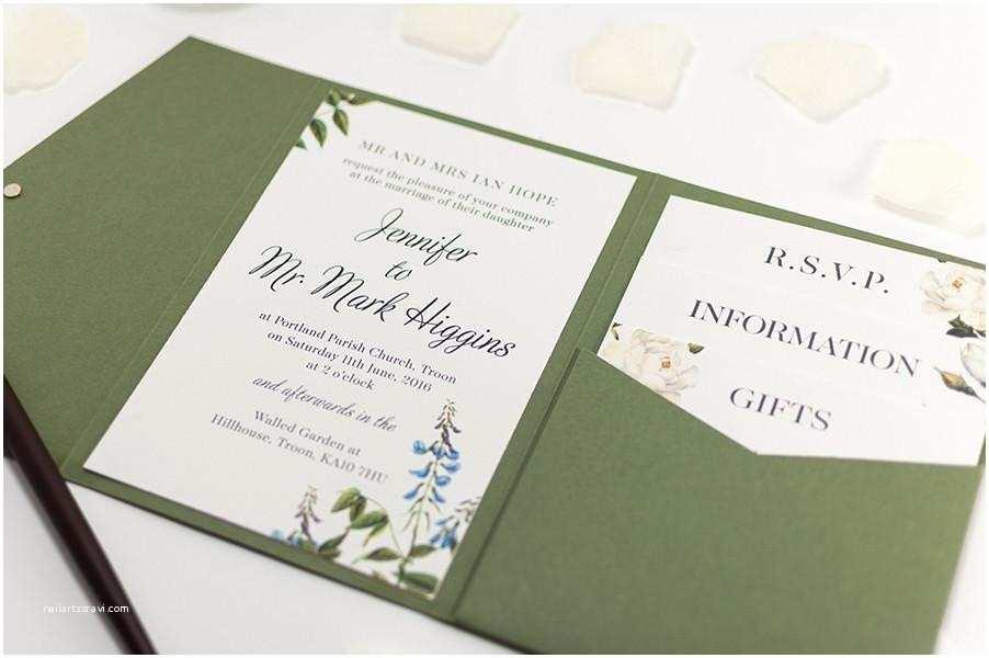Back Pocket Wedding Invitations Botanic Wedding Invitation In Olive Green Pocketfold
