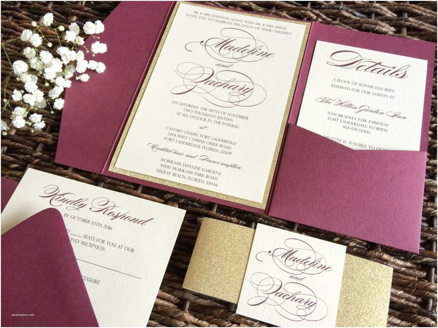 Back Pocket Wedding Invitations Burgundy Wedding Invitation Burgundy and Gold Glitter