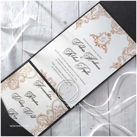 Back Pocket Wedding Invitations Charcoal Black Pocket Invitation Monogrammed Seal