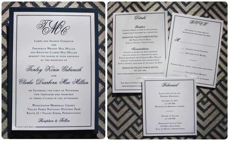 Back Pocket Wedding Invitations formal Navy & White Monogram & Border Clutch Pocket