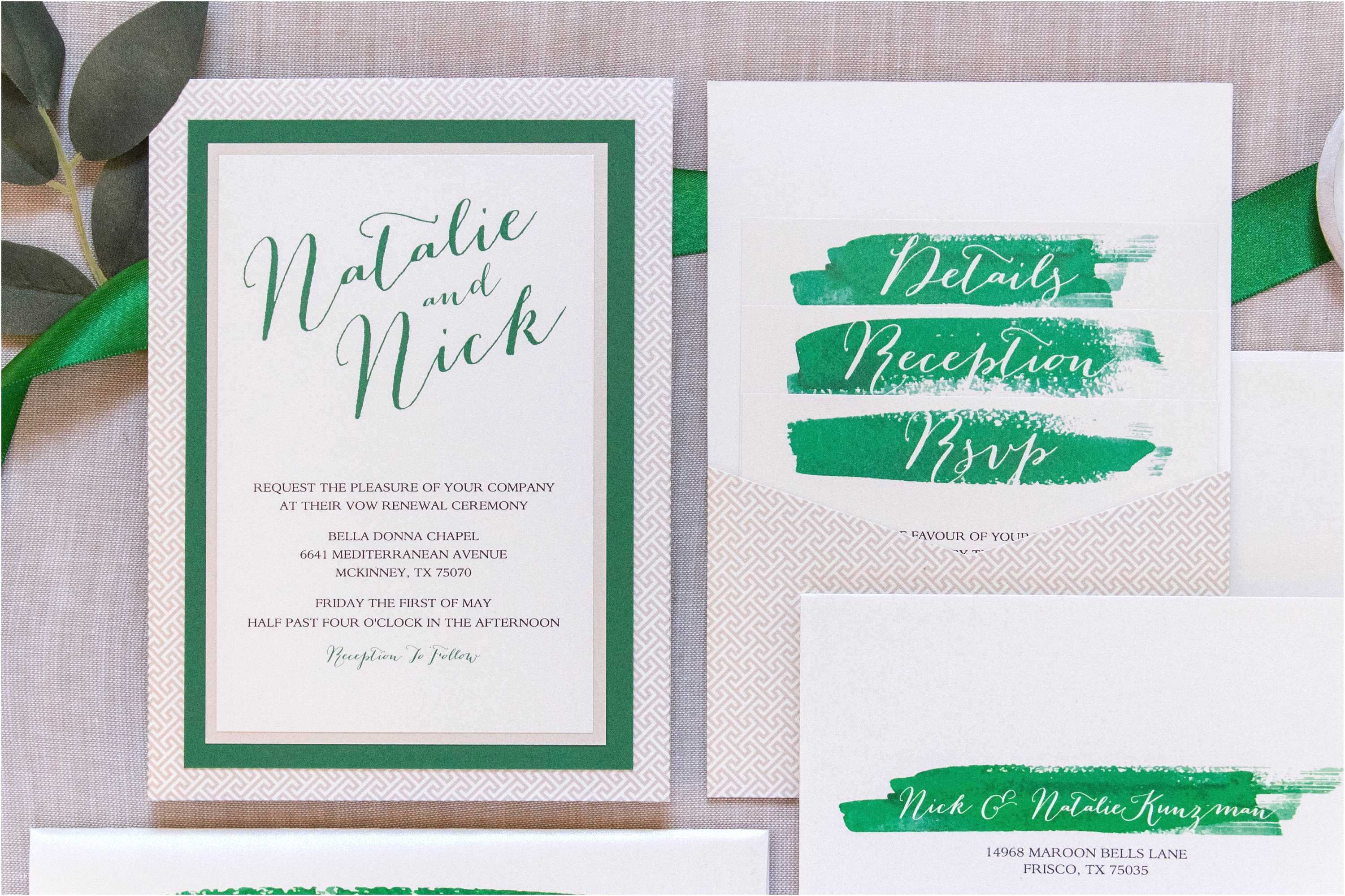 Back Pocket Wedding Invitations Multi Color Wedding Invitations Unique 5x7 Green and