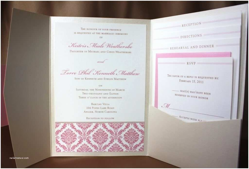 Back Pocket Wedding Invitations Pink Damask and Metalic Pocketfold Wedding Invitation