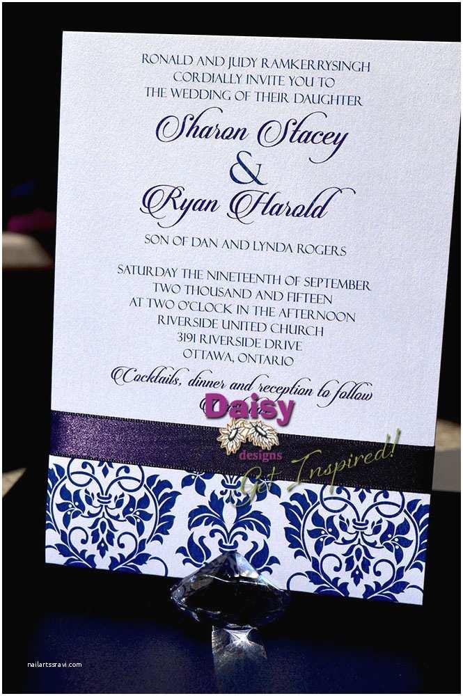 Back Pocket Wedding Invitations Plum Damask Wedding Invitations by Daisy Designs