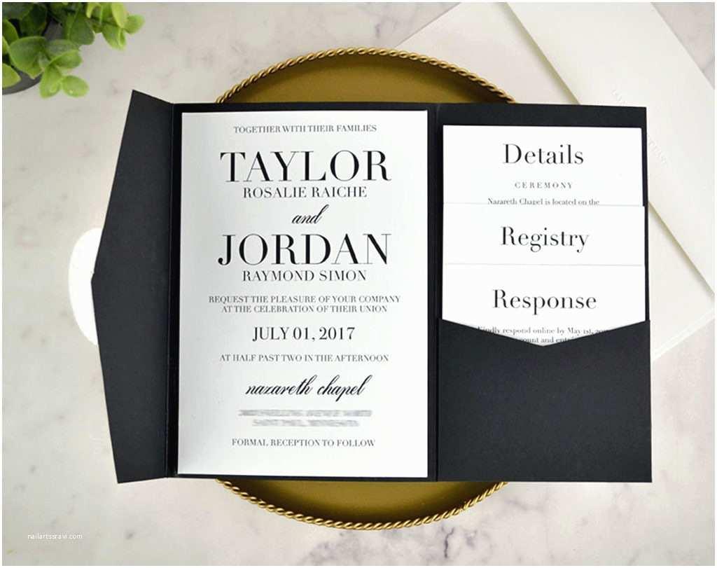 Back Pocket Wedding Invitations Real Diy Wedding Invitation Classic Black & White Pocket