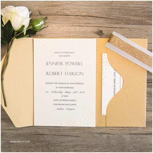 Back Pocket Wedding Invitations Simple Gold Glitter Dots Pocket Wedding Invitations