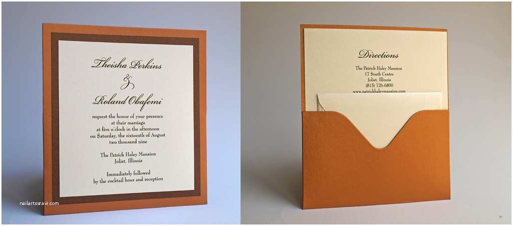 Back Pocket Wedding Invitations Single Pocket Wedding Invitation Front and Back