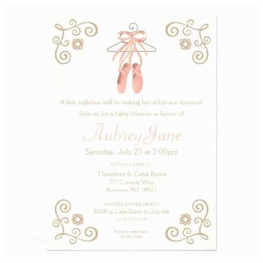 "Ballerina Baby Shower Invitations Ballerina Shoes Ballet Baby Girl Shower Invitation 5"" X 7"