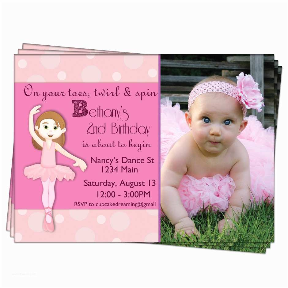 Ballerina Birthday Invitations Ballerina Birthday Invitation Girls Pink Party by Cupcakedream