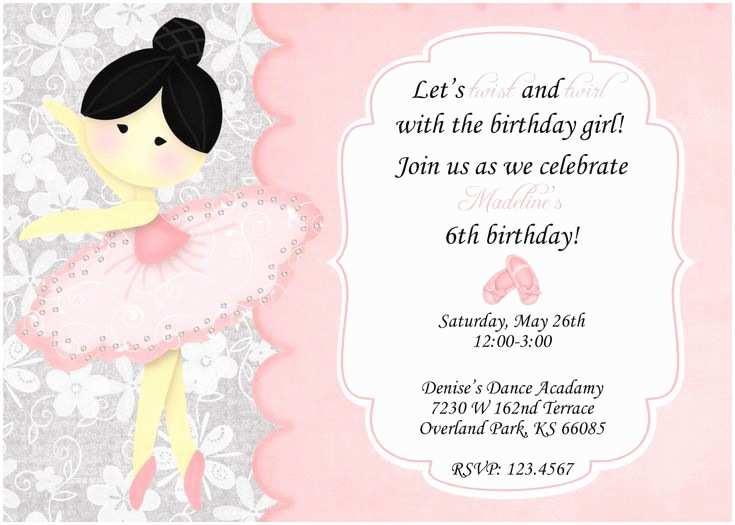 Ballerina Birthday Invitations Ballerina Birthday Invitation