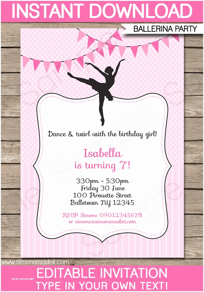 Ballerina Birthday Invitations Ballerina Party Invitations Template