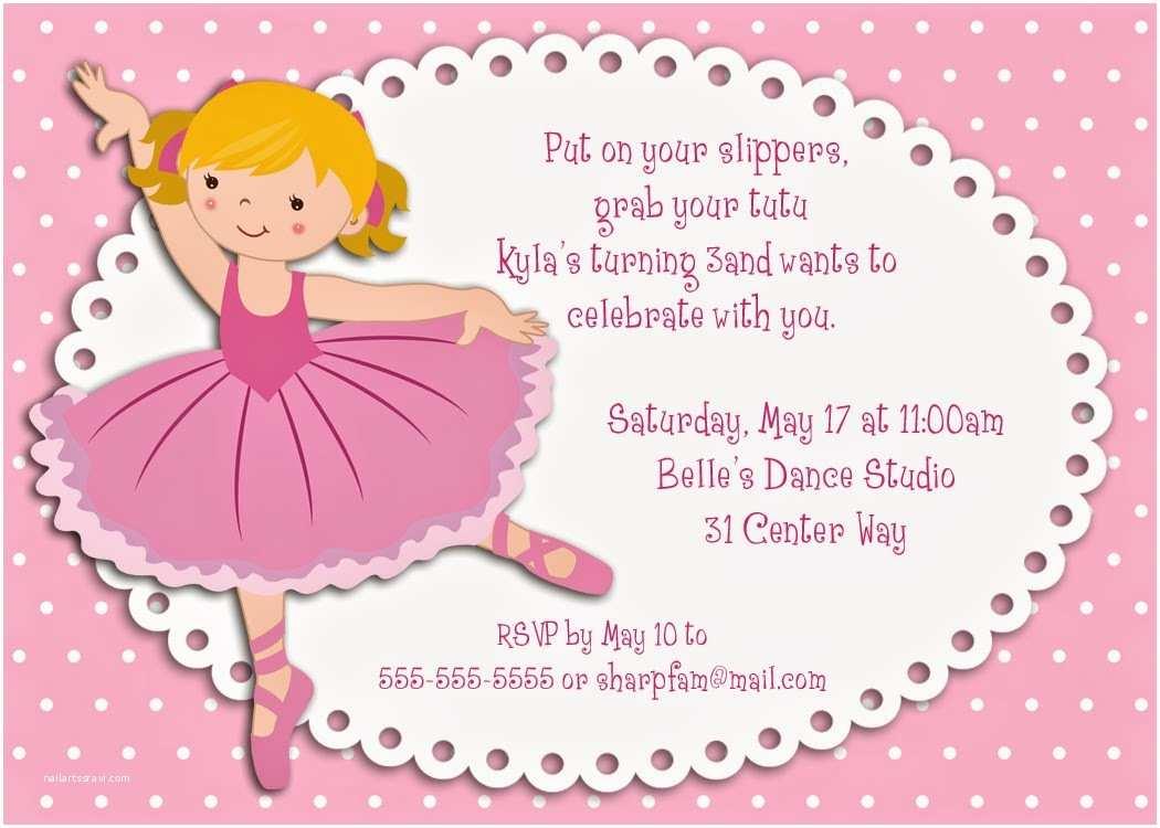 Ballerina Birthday Invitations Bear River Greetings 2014