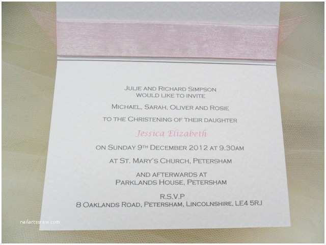 Baptism Invitation Wording top Ribbon Personalised Christening and Baptism