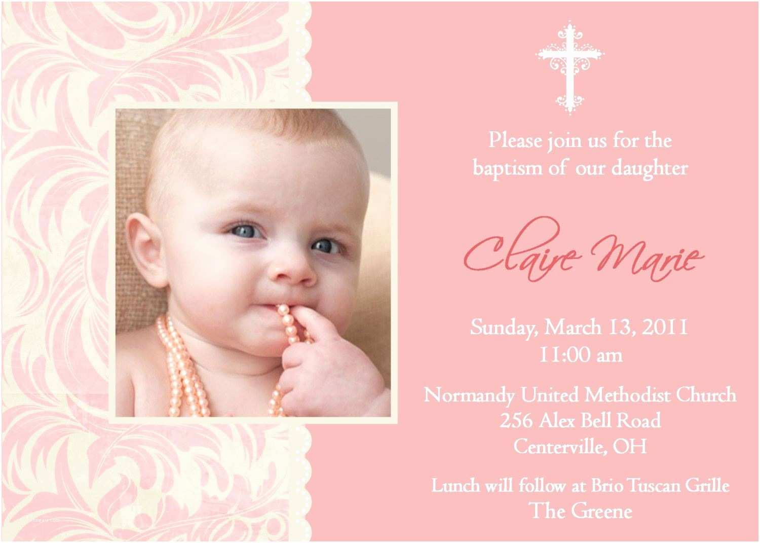 Baptism Invitations Baptism Invitations for Girl Christening Invitation