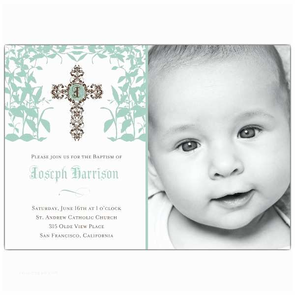 Baptism Invitations for Boys Cross Trellis Boy Baptism Invitations