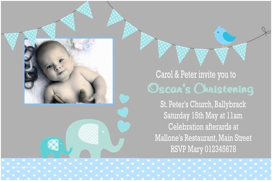 Baptism Invitations for Boys Personalised Boy Christening Invitations Design 9