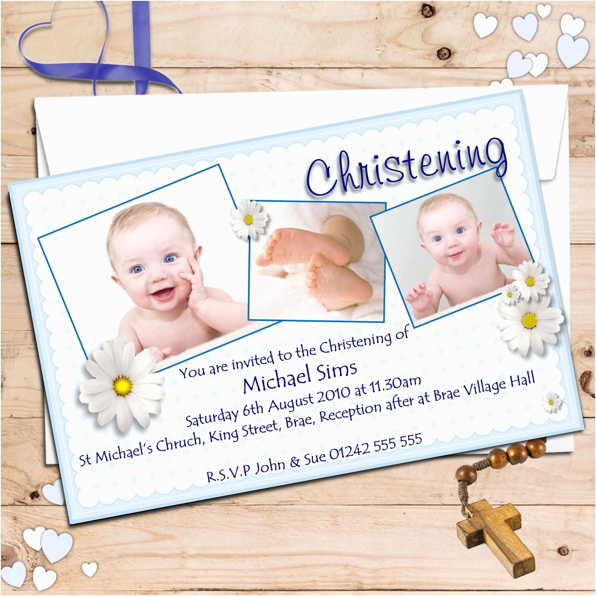 Baptism Invitations for Boys Personalised Christening Invitations Personalised