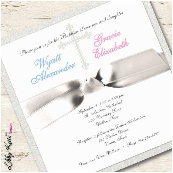 Baptism Invitations for Boys Twin Baptism Invitation Christening Boy and by