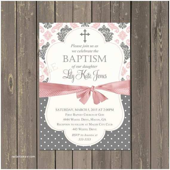 baptism invitation girl pink and grey