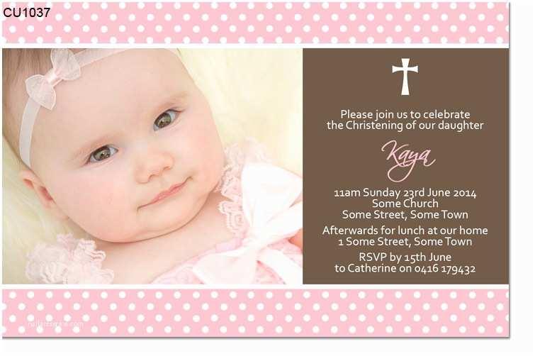 Baptism Invitations for Girls Cu1037 Girls Christening Invitation with Cross Girls