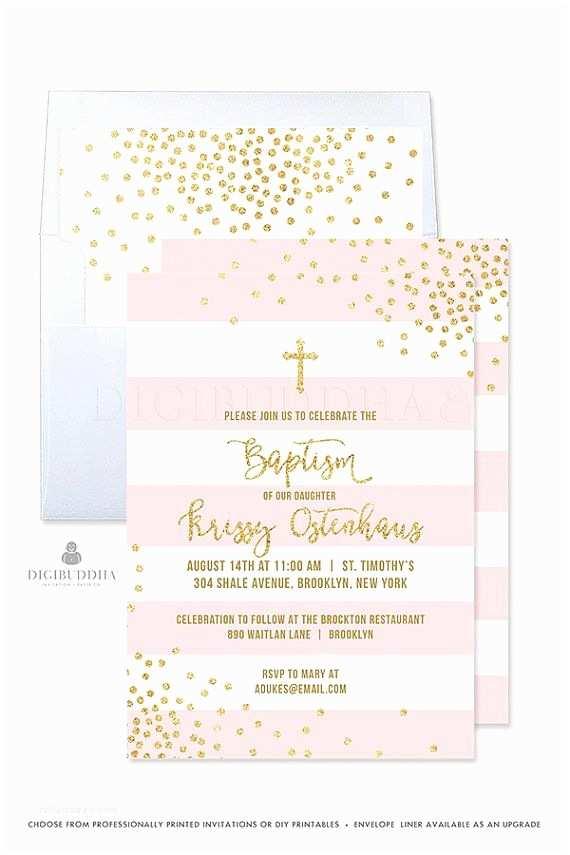 Baptism Invitations for Girls Girl Baptism Invitation Girl Christening Invitation Pink