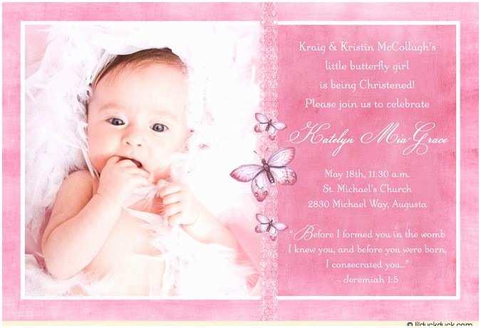 Baptism Invitations for Girls Single Baptism Invitation Purple Baby Girl