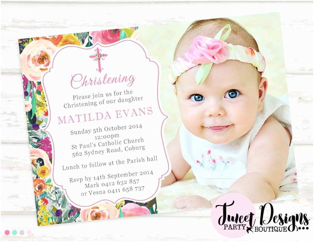 Baptismal Invitation Watercolor Flowers Christening Invitation Girl