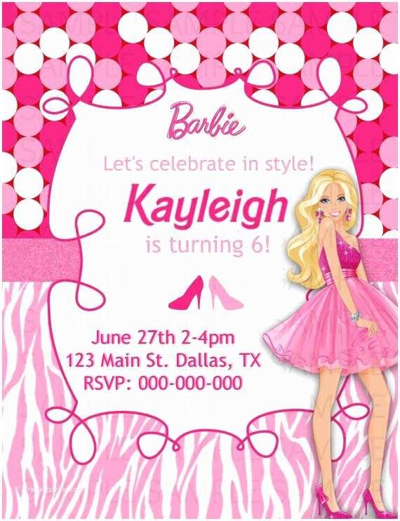 Barbie Birthday Invitations 8 Best Barbie Invitation Cards Images On Pinterest