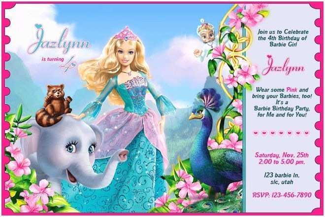 Barbie Birthday Invitations Barbie Birthday Invitation Princess Barbie Birthday