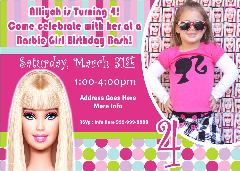 Barbie Birthday Invitations Barbie Invite Barbie Invitation Barbie