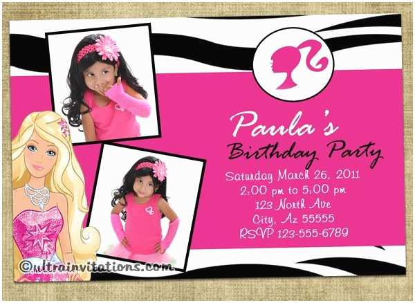 Barbie Birthday Invitations Best 25 Barbie Invitations Ideas On Pinterest