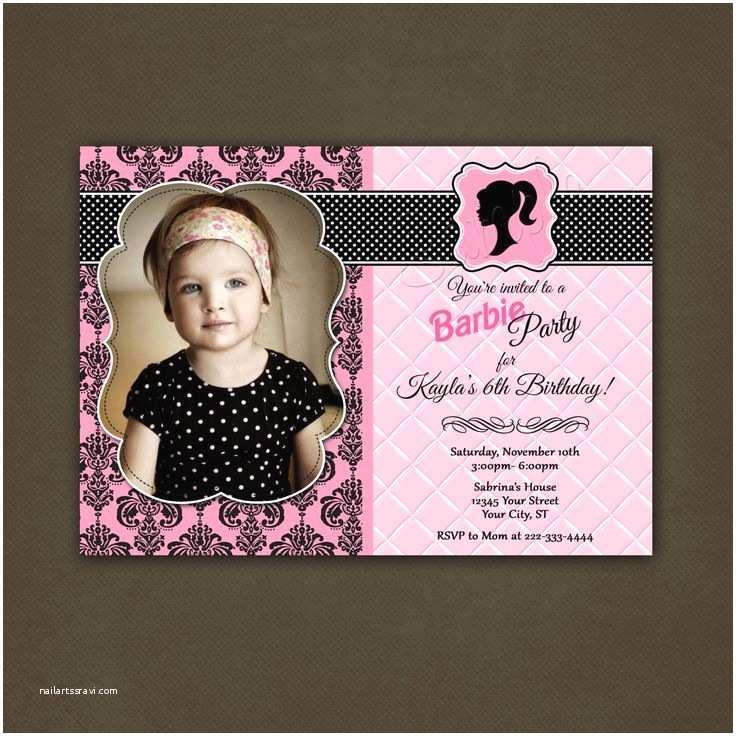 Barbie Birthday Invitations Girls Vintage Doll Invitation Printable