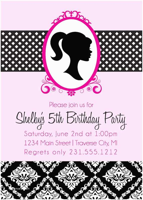 barbie birthday invitations vintage