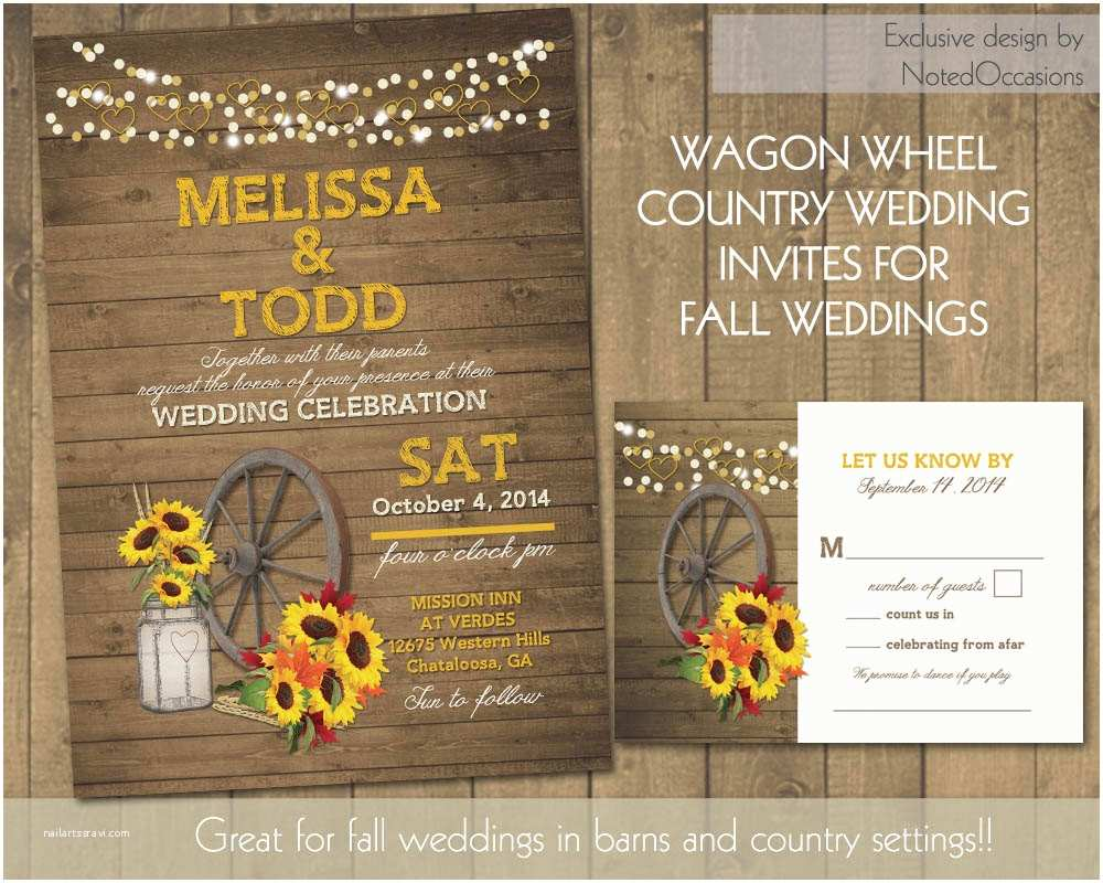 Barn Wedding Invitations Rustic Sunflower Wedding Invitations Suite by Notedoccasions