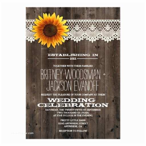 Barn Wood Wedding Invitations Barn Wood and Lace Sunflower Wedding Invitations