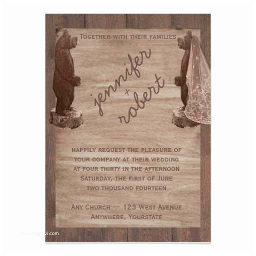 "Barn Wood Wedding Invitations Barn Wood Bears Country Wedding Invitation 5"" X 7"