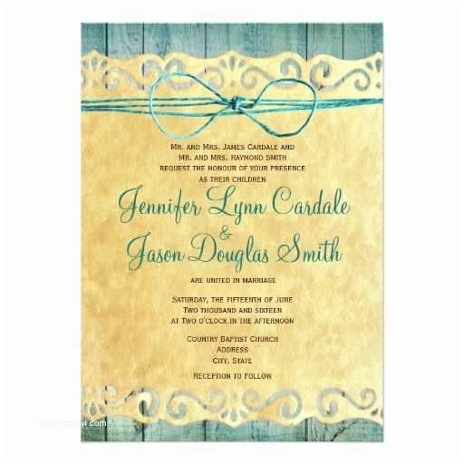 Barn Wood Wedding Invitations Barn Wood Vintage Paper Teal Wedding Invitation