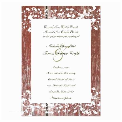 "Barn Wood Wedding Invitations Old Red Barn Wood Wedding Invitation 5"" X 7"" Invitation"