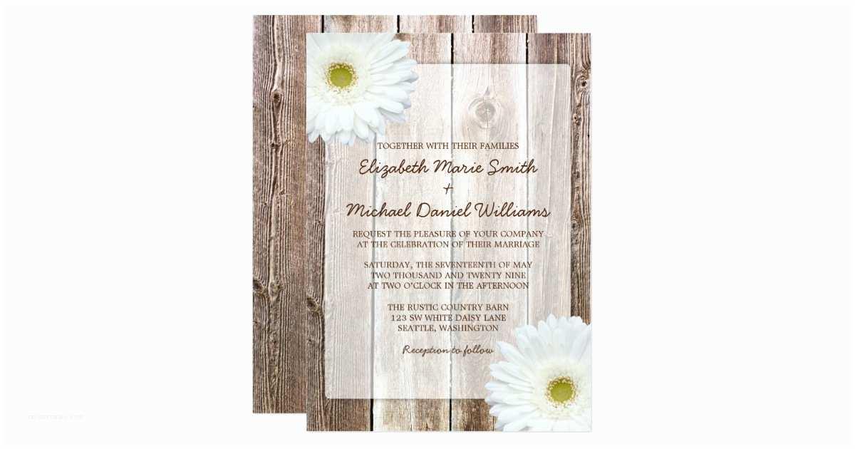 Barn Wood Wedding Invitations White Daisy Rustic Barn Wood Wedding Invitations