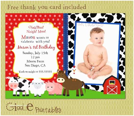 Barnyard Birthday Invitations Barnyard Birthday Invitation Free Thank You Card Included