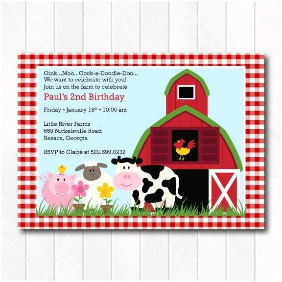 Barnyard Birthday Invitations Barnyard Invitation Farm Invitation Barnyard Birthday