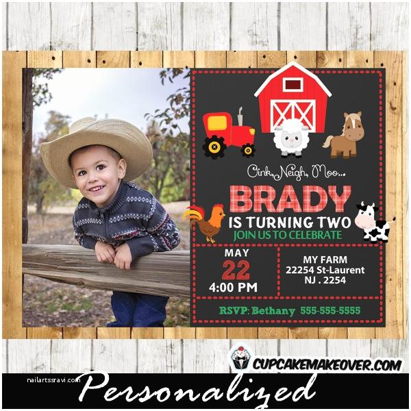 Barnyard Birthday Invitations Farm Birthday Invitation Barn Wood Personalized