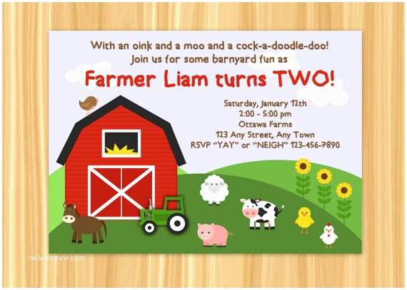Barnyard Birthday Invitations Farm Invitation Party