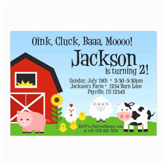 Barnyard Birthday Invitations Farm Invitation Red Barn Farm Animals Pig Chicken Sheep